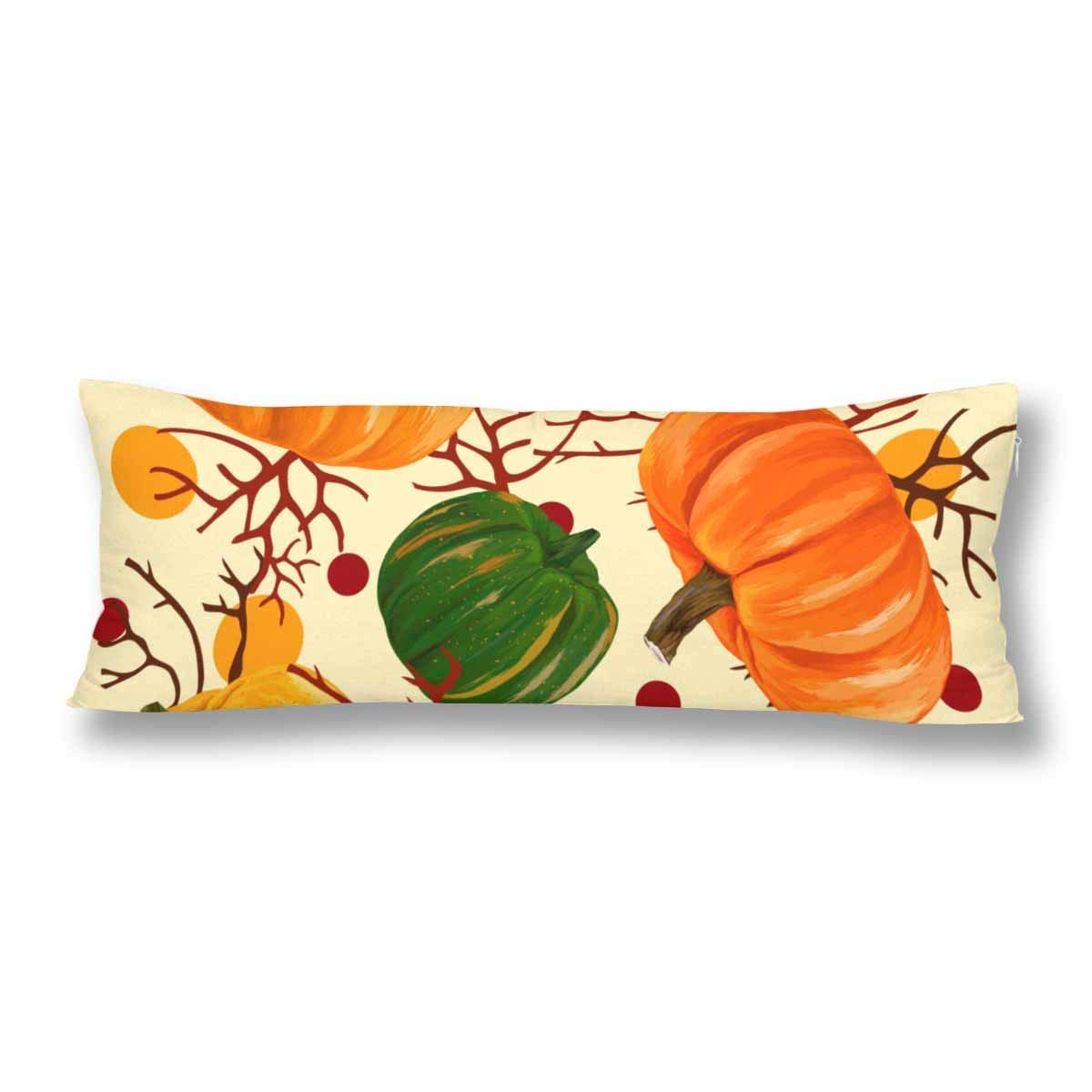 ABPHOTO Harvest Thansgiving Fall Autumn Pumpkin Festival Body Pillow Covers Case Protector 20x60 inch