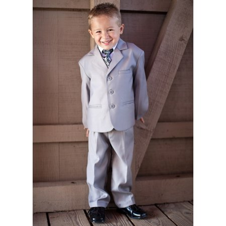 Light Grey Boys Suit (Boys' Light Gray 5 Piece Suit)