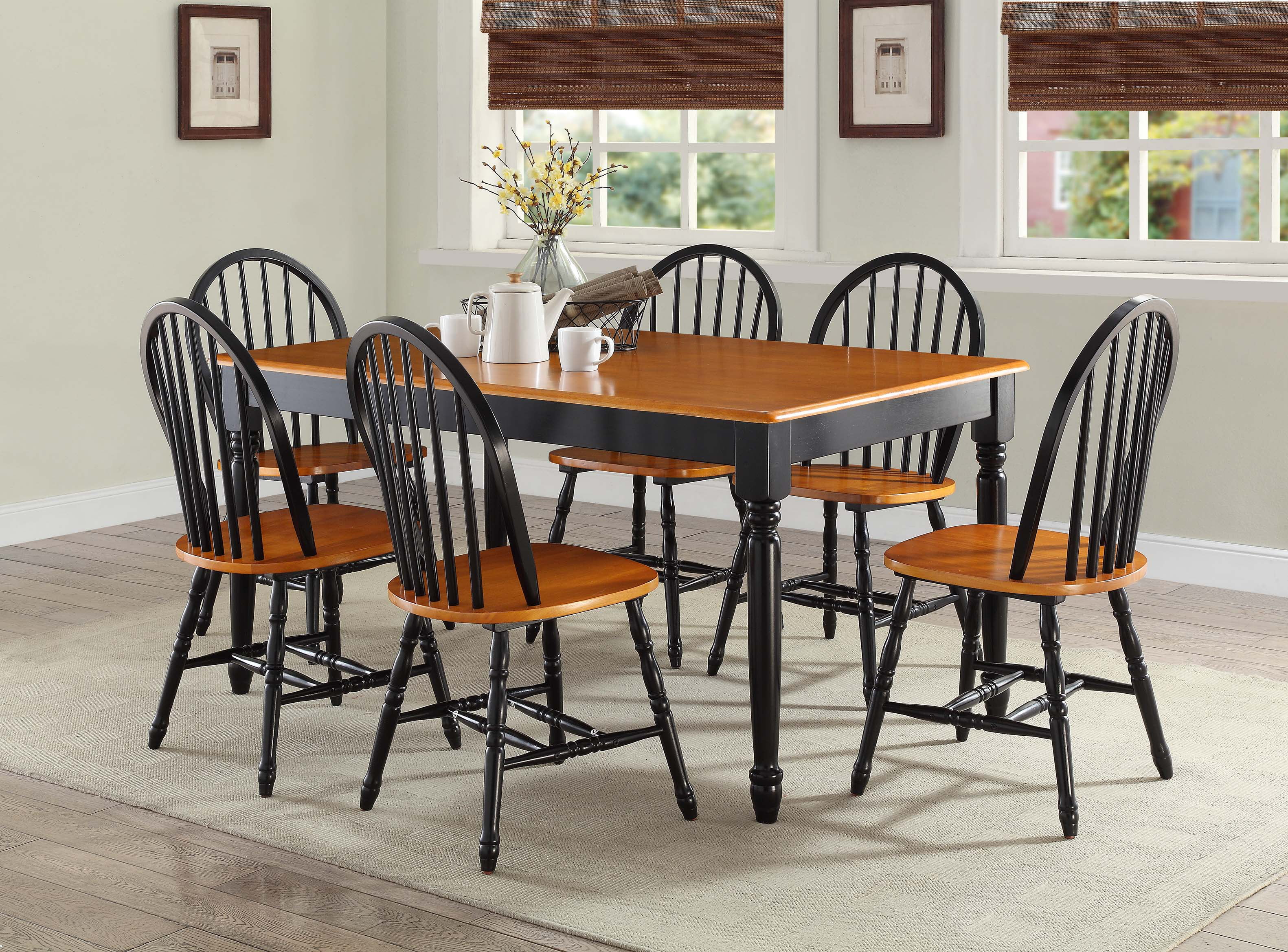 Kitchen Dining 6 Person Furniture Table Chairs Bench Room BlackOak Wood Indoor