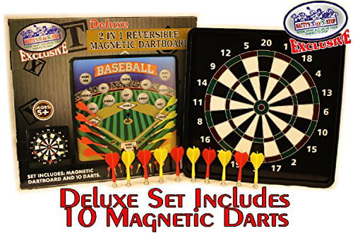 Deluxe 2-in-1 Reversible Magnetic Dartboard (Dart Board) with 10 Darts, Featuring Standard Darts & Baseball Games... by Homeware