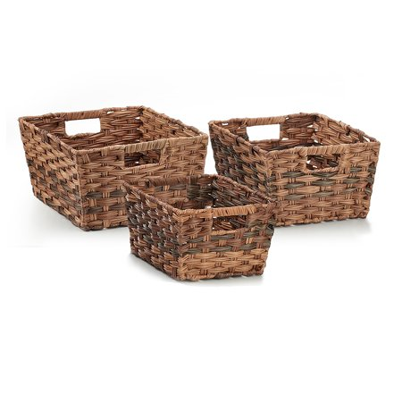 Seville Classics Nesting Woven Rectangular Shelf Storage Basket Assortment (3-Piece Set), Mocha - Rectangular Storage Baskets