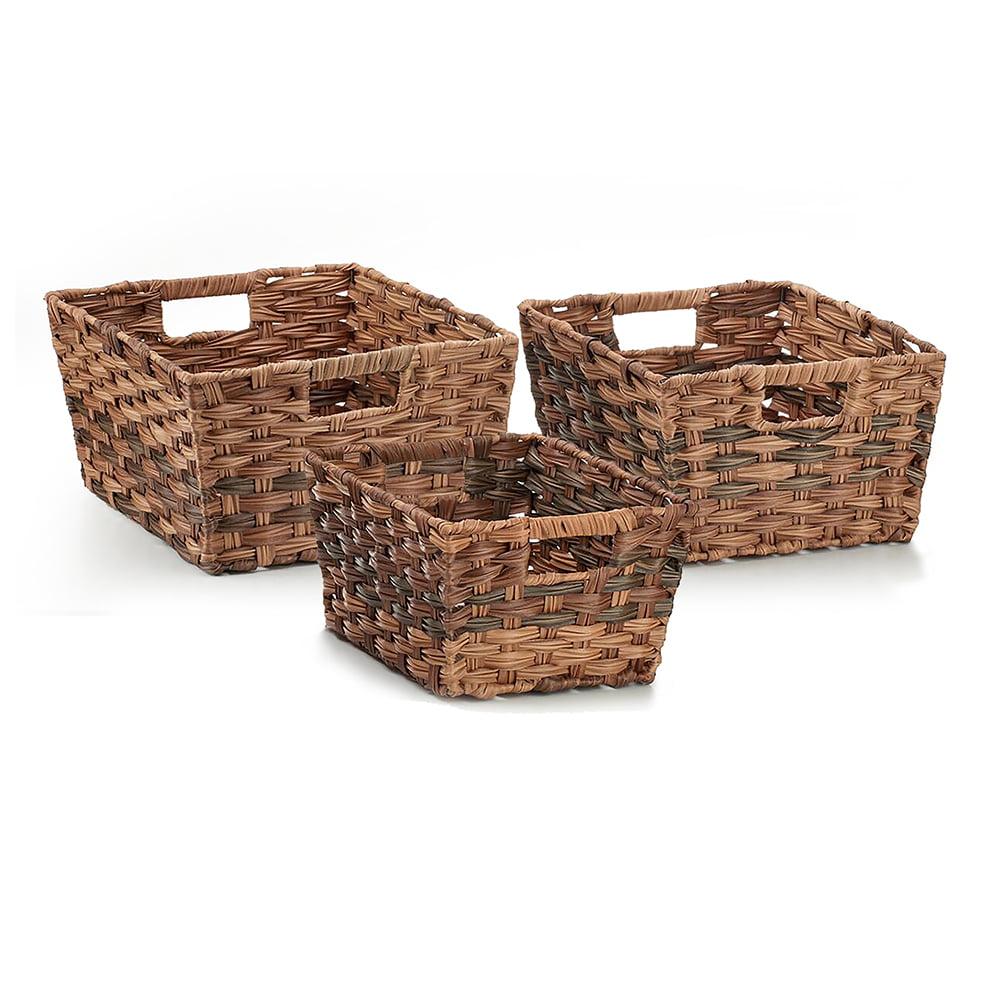 Seville Classics Nesting Woven Rectangular Shelf Storage Basket Assortment (3-Piece Set), Mocha Brown