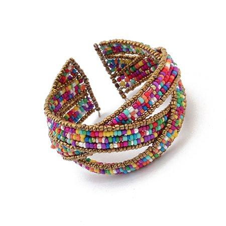 JOYFELL Bohemia Beads Bracelets Weave Open Bangles Women Fashion (Bali Weave Bracelet)