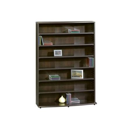 7 Shelf Multimedia Storage Tower in Cinnamon Cherry Finish