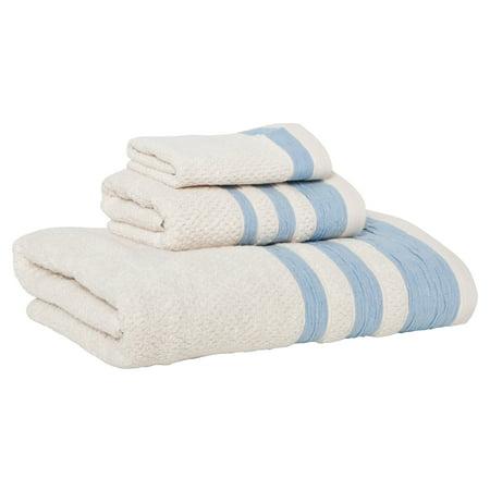 Mili Designs NYC Wash Towels (Set of 3), Stripes Border, Blue