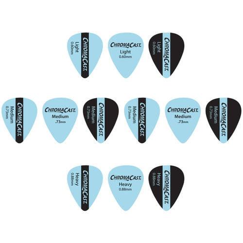 ChromaCast Vintage Guitar Pick 12 Pack, Light, Medium, and Heavy Gauge