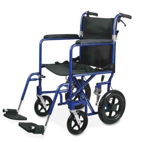 medline Excel Deluxe Aluminum Transport Wheelchair, 19w x...