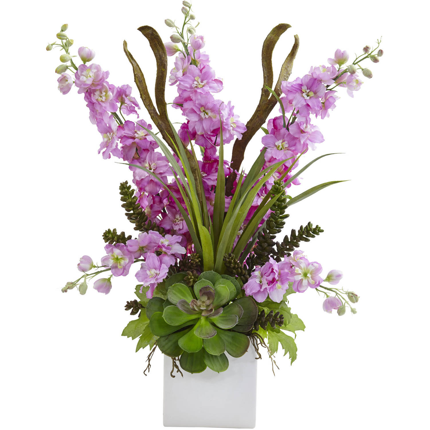 Nearly Natural Delphinium and Succulent Arrangement