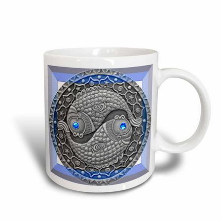 3dRose Zodiac Series Pisces Metal Look Art, Ceramic Mug, 15-ounce (Sylvania Metal Arc Ceramic)