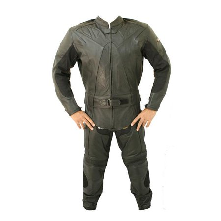 Perrini 2 PC Black Genuine Cow Hide Motorcycle Leather Suit Motorbike Riding Hard Padding Racing Suit](Cow Suit)