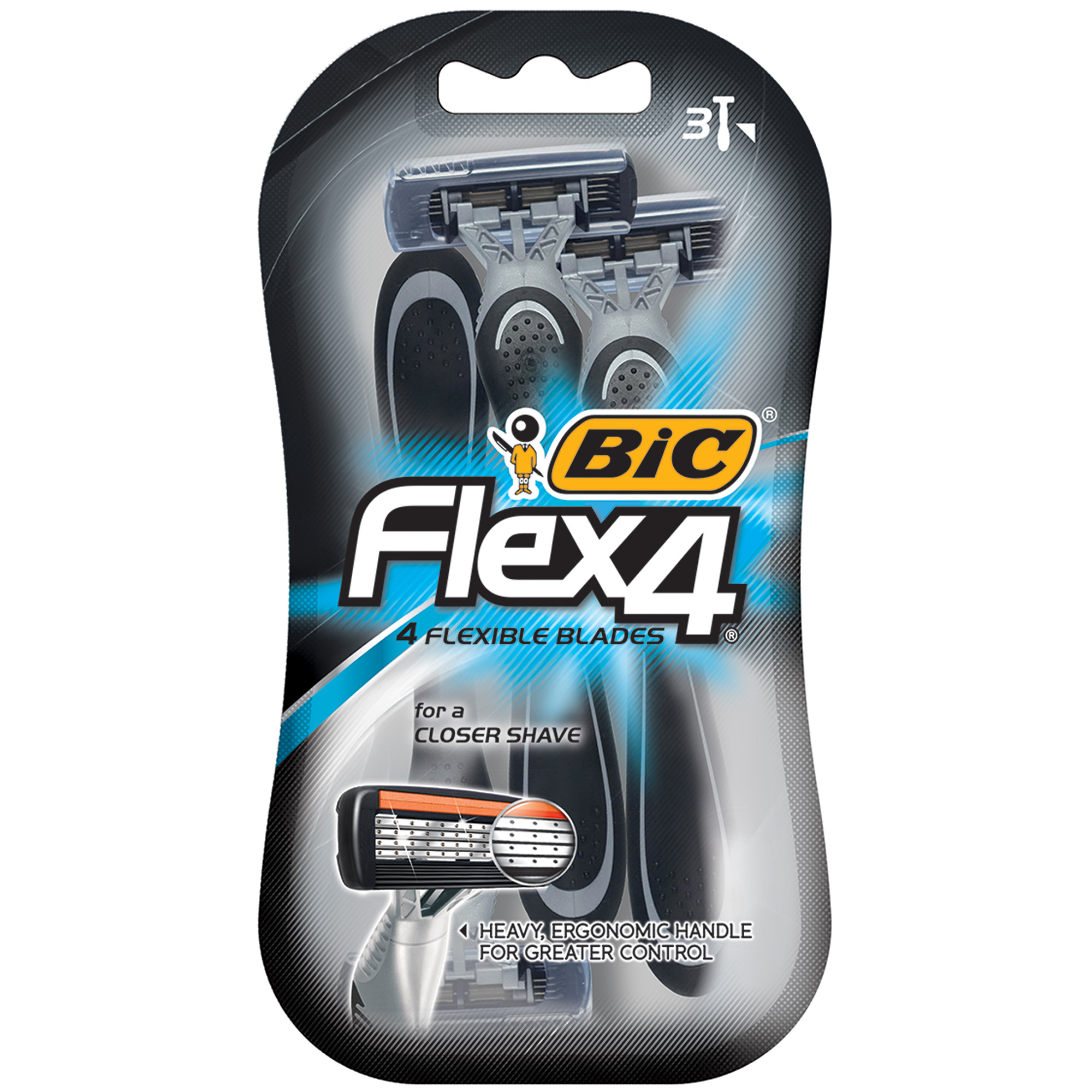 BIC Flex 4 Disposable Razor, Men, 3-Count