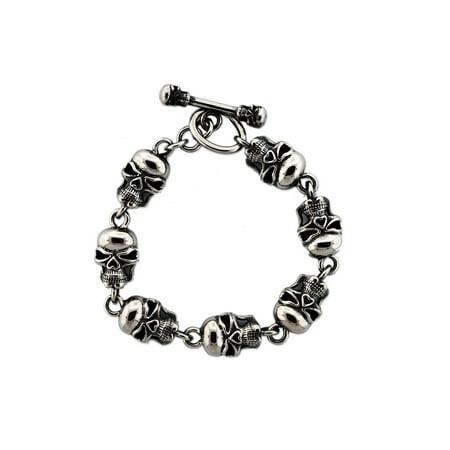 - Men's Skull Toggle Stainless Steel Bracelet, 8-1/2