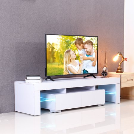 57'' High Gloss TV Unit Stand With LED Lights 2 Shelves Drawers Modern Cabinet Home White Black Wood ()