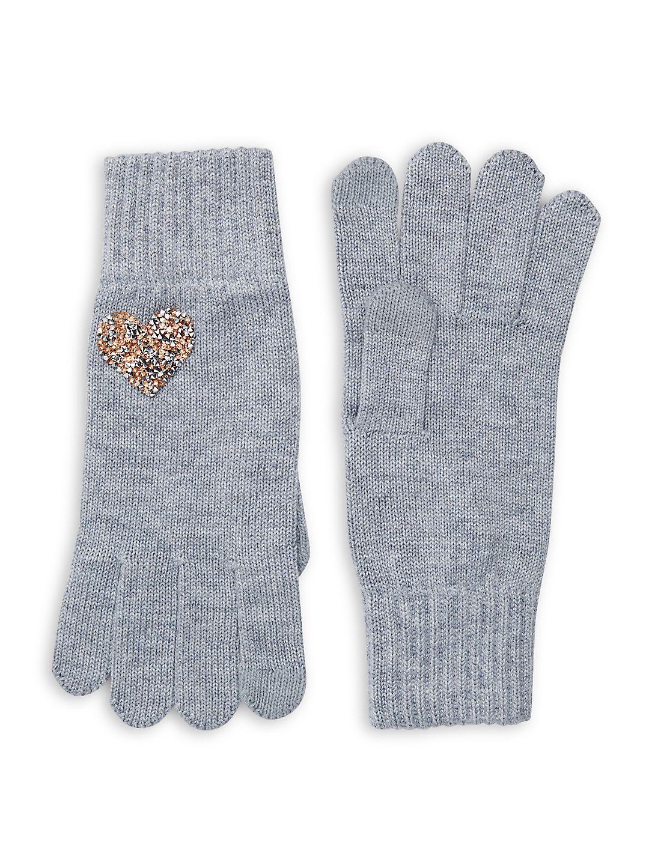 Heart Embellished Wool-Blend Gloves