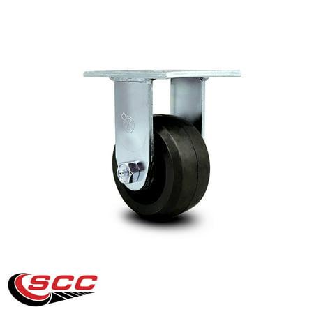 "Service Caster - 4"" x 2"" Rubber on Cast Iron Wheel Rigid Caster - 400 lbs/Caster"
