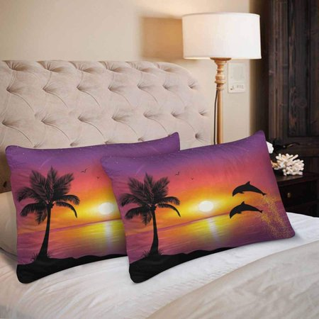 GCKG Palm Tree Dolphin Sunset Beach Pillow Cases Pillowcase 20x30 inches Set of 2 - image 1 de 4