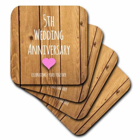 5th Wedding Anniversary Gift.3drose 5th Wedding Anniversary Gift Wood Celebrating 5 Years Together Fifth Anniversaries Five Yrs Ceramic Tile Coasters Set Of 4