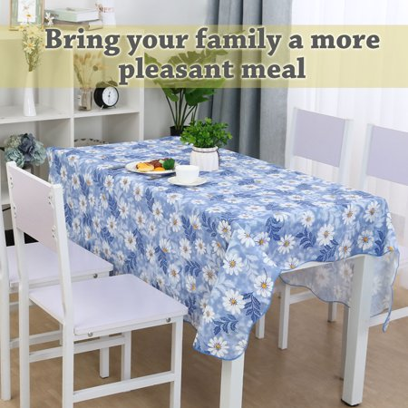 "Vinyl Plastic Tablecloth for Square Tables 53"" x 53"" Daisy Pattern, Wedding/Restaurant/Parties Decoration, Water Oil Res - image 5 of 8"