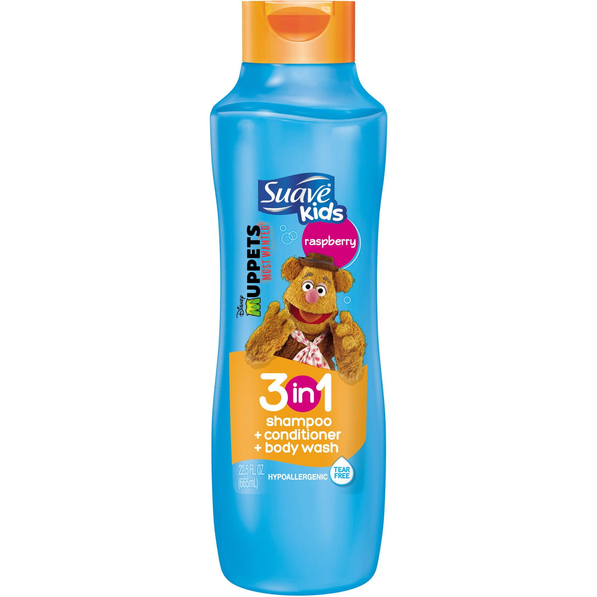 Suave Kids Raspberry 3 in 1 Shampoo Conditioner and Body Wash, 22.5 fl oz