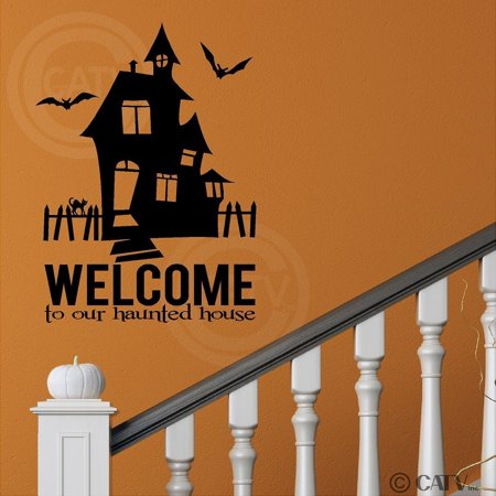 Halloween Welcome To Our Haunted House vinyl lettering decal home decor (16