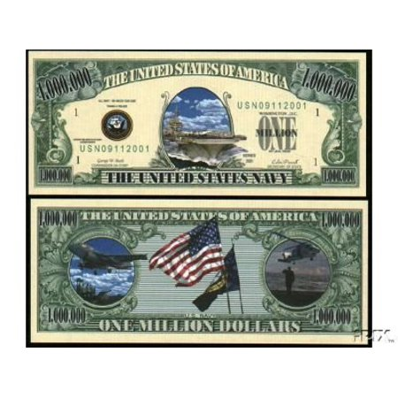 U.S. Navy $Million Dollar$ Novelty Bill Collectible, Special Million Dollar Bill featuring the US Navy. By American Art
