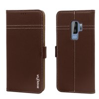 Product Image Mignova Galaxy S9 Plus Genuine Leather Case, Wallet Folding Flip Case with Kickstand, Card