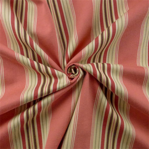 Coral Pink/Multi Cotton Twill Stripe Drapery Fabric, Fabric By the Yard
