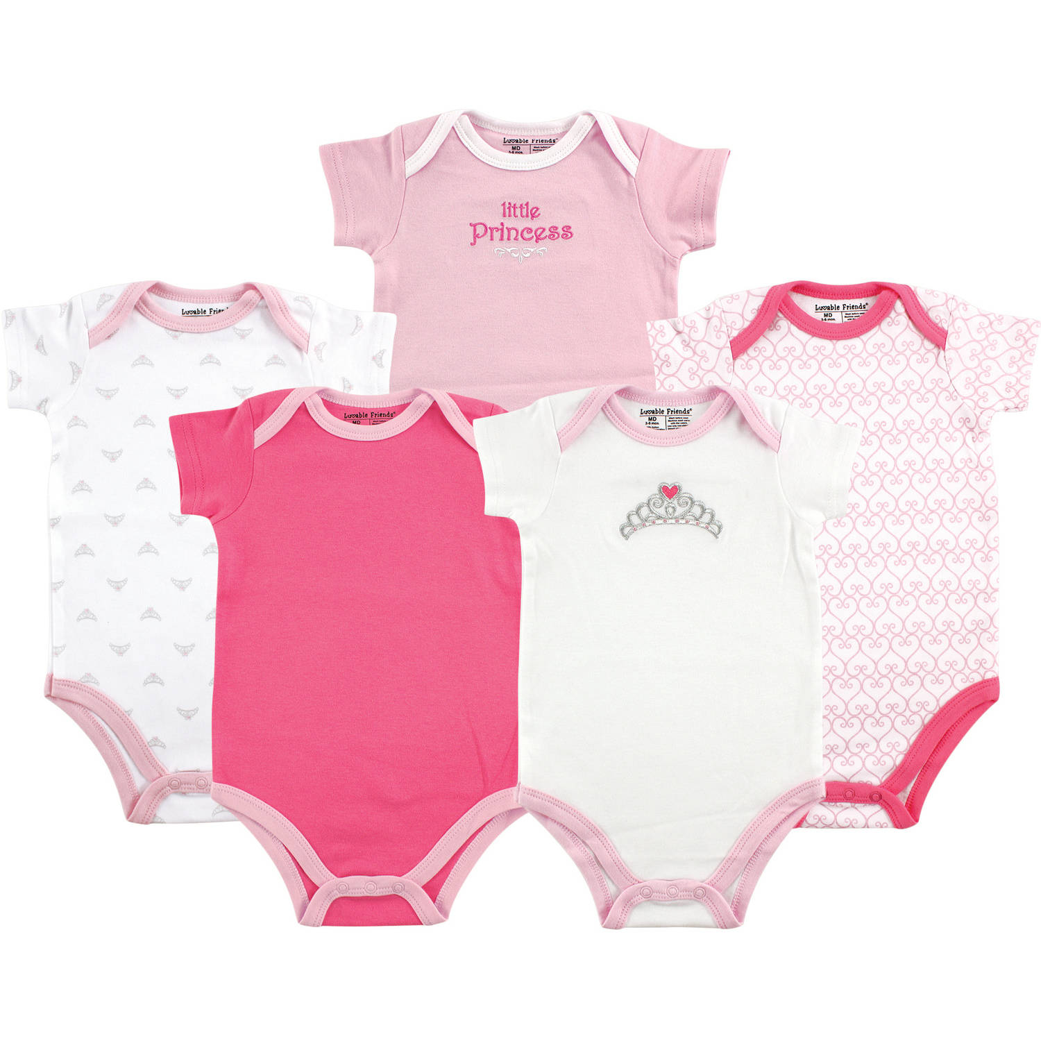 Luvable Friends Baby Girl Bodysuits, 5-Pack