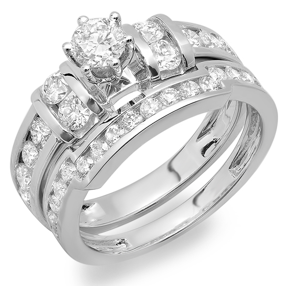 1.90 Carat (ctw) 10K Gold Round White Diamond Bridal Engagement Ring Matching Wedding Band Set