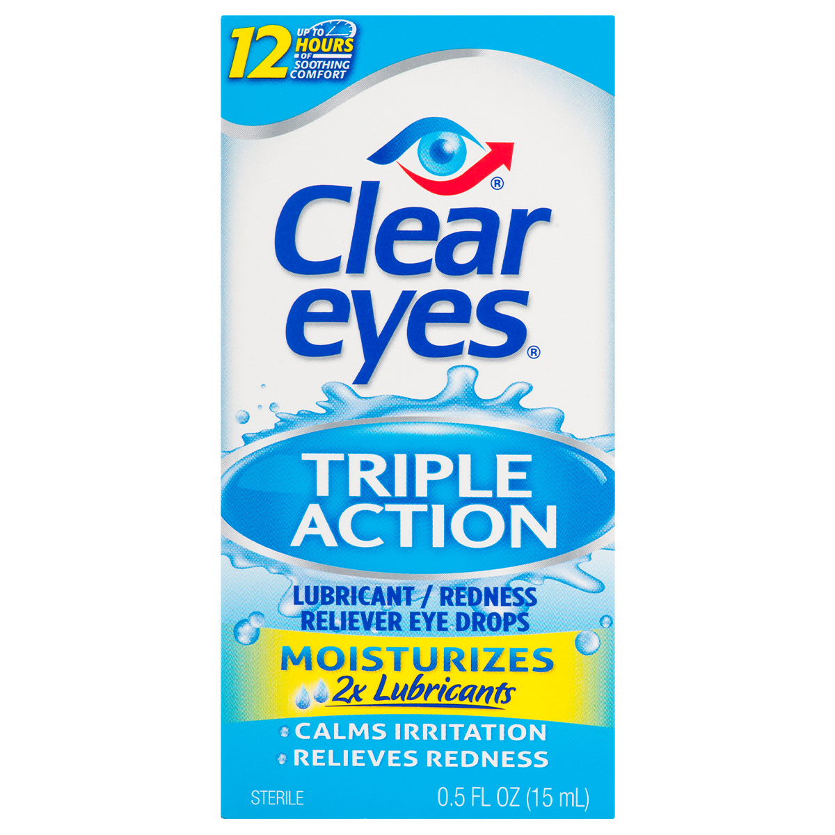 Clear Eyes Triple Action Lubricant/Redness Relief Eye Drops, 0.5 FL OZ