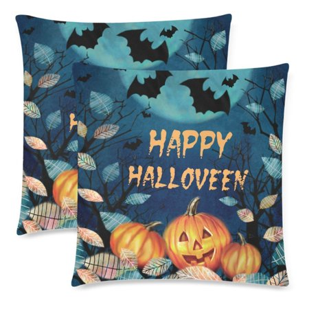 YKCG 2 Pack Happy Halloween with Pumpkin Autumn Fallen Leaves Pillowcase 18x18 Twin Sides, Dark Forest on a Full Moon Cotton Zippered Cushion Pillow Case Covers Set