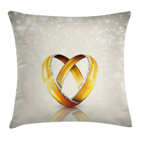 Wedding Decorations Throw Pillow Cushion Cover, Two Big Rings on Vibrant Abstract Background Marriage Engagement Jewel, Decorative Square Accent Pillow Case, 16 X 16 Inches, Silver Gold, by Ambesonne