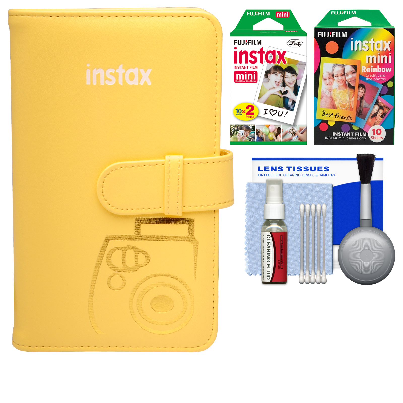 Fujifilm Instax Mini Wallet 108 Photo Album (Yellow) with 20 Color Prints & 10 Rainbow Prints   Kit for 7S, 8, 25, 50S, 90 Cameras