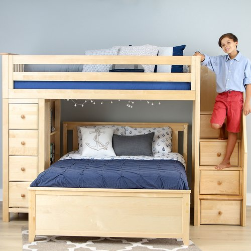 Harriet Bee Ayres L-Shaped Bunk Bed with Drawers, Bookcase