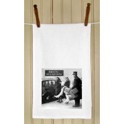 """Set of 4 Retro Style Photo """"Rich is Better"""" White Flour Sack Kitchen Hand Towels 29"""""""