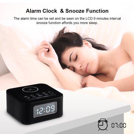 Augienb 8in1 Wireless Charging Digital Alarm Clock With Fm Radio Radio H Speaker Usb Charging Port Built In Mic Snooze Funcion For Kids Bedroom Kitchen Black Walmart Canada
