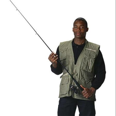 Travel Vest (Olive Deluxe Safari Outback Vest for Travel, Sportsmen, Concealed Carry, 2XL)