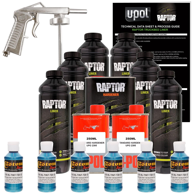 Raptor Blue Metallic Urethane Spray-On Truck Bed Liner Spray Gun, 6 Liters