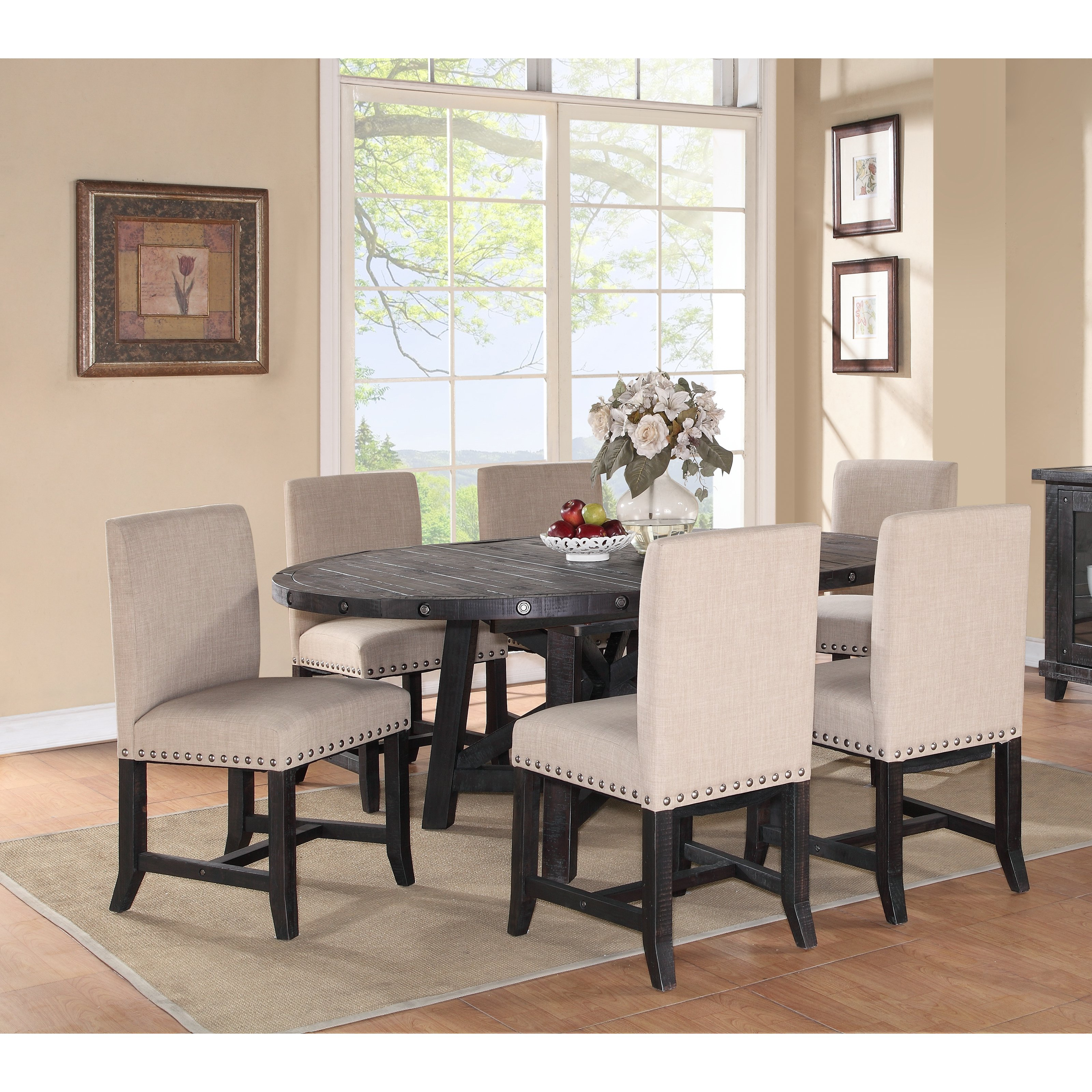 Modus Oval Yosemite 7 Piece Oval Dining Table Set with Upholstered Chairs by Modus Furniture International