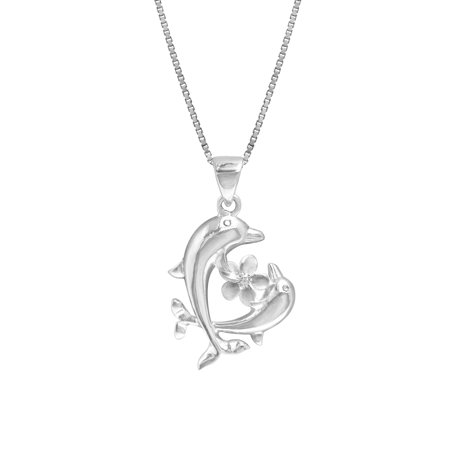 Sterling Silver Dolphins and Plumeria Flower Necklace Pendant with 18