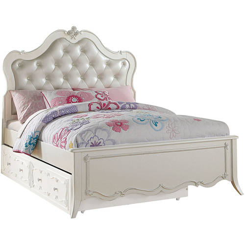 Acme Edalene Full Bed with Twin Trundle, Pearl White