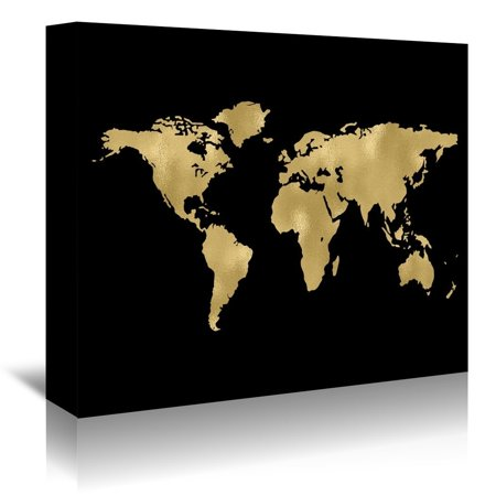Americanflat  'World Map Gold On Black' Gallery Wrapped Canvas ()