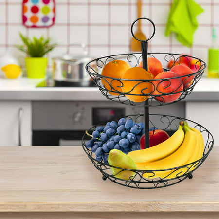 Sorbus 2-Tier Countertop Fruit Basket Holder & Decorative Bowl Stand, Perfect for Fruit, Vegetables, Snacks, Household Items and Much More (Black)