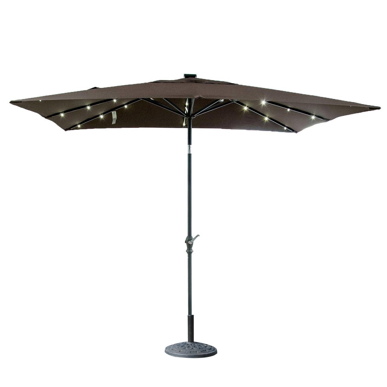 Rectangular Led Umbrella: ORNO TTOBE 7x9 Ft Rectangular Aluminum Patio Market