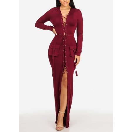 Womens Juniors Sexy Burgundy Long Sleeve Lace Up Front Slit Bodycon Maxi Dress W Front Pocket Design 41046P