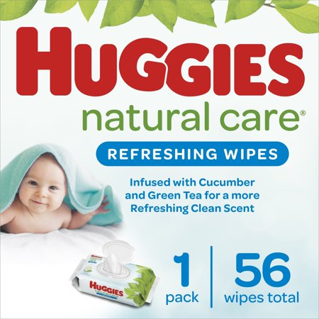 Huggies Natural Care Refreshing Baby Wipes, 1 Flip-Top Pack (56 Wipes Total)