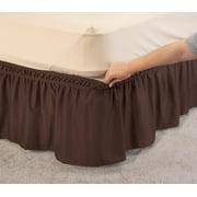 "OakRidge Wrap Around Ruffled Bed Skirt, Easy On/Easy Off, 14"" Length, Twin, Chocolate"