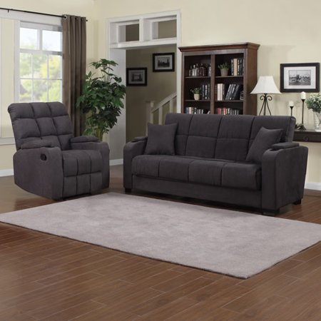 - Tyler Storage Arm Convert-a-Couch and Sofa Bed Microfiber with Set of 2 ProLounger Storage Arm Wall Hugger Microfiber Recliners