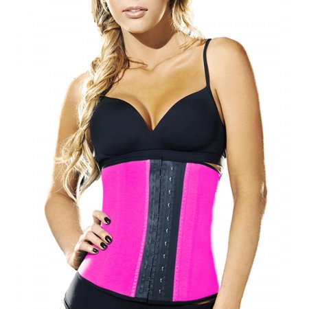 Celebrity Double Wide Waist Trainer Corset, Pink, Small, 3.3 (Pink Embroidered Corset)