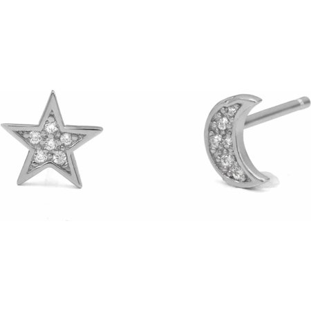 CZ Sterling Silver Moon and Star Stud Earrings
